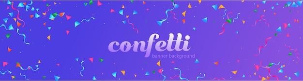 Bannière de confettis dégradé coloré abstrait