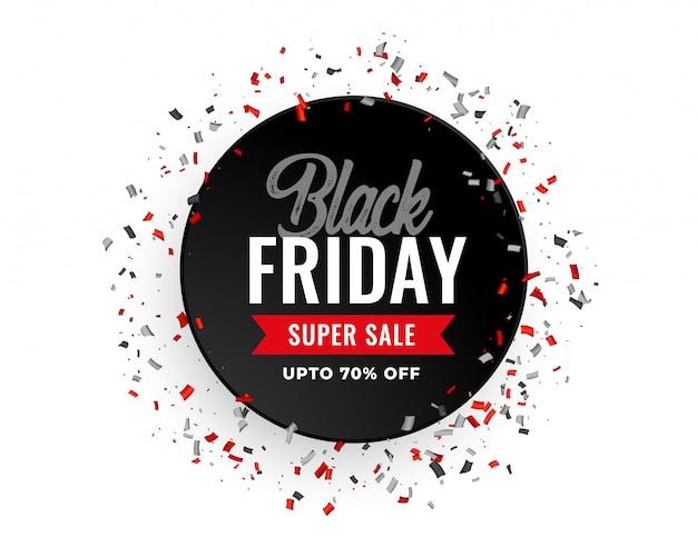 Bannière de confettis noir vendredi vente célébration