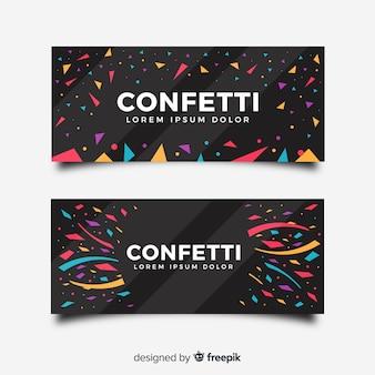 Bannière de confettis plats