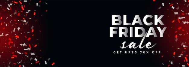 Bannière de confettis vente vendredi noir avec espace de texte