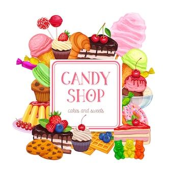 Bannière de confiserie et bonbons