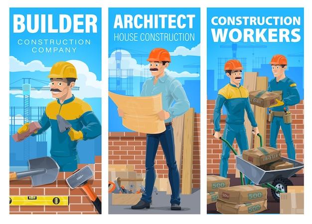 Bannière de constructeur et architecte de construction de maison