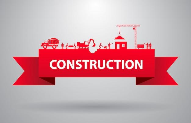 Bannière de construction rouge