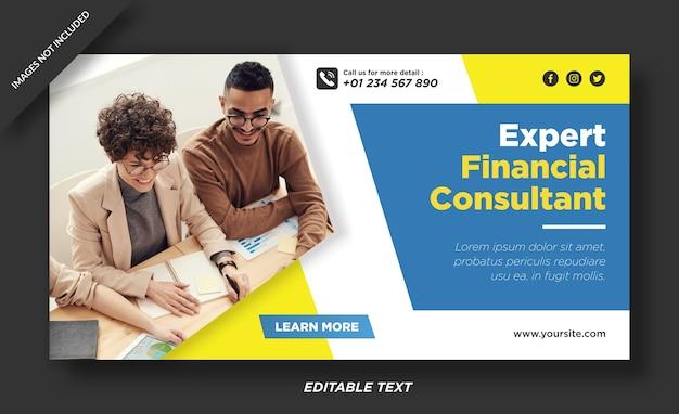 Bannière de consultant financier expert et modèle de médias sociaux