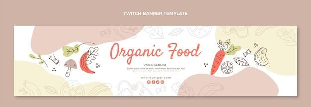 Bannière de contraction d'aliments biologiques dessinés à la main
