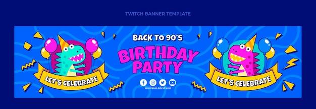 Bannière de contraction d'anniversaire des années 90 dessinée à la main