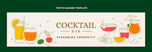 Bannière de contraction de bar à cocktails dessinés à la main
