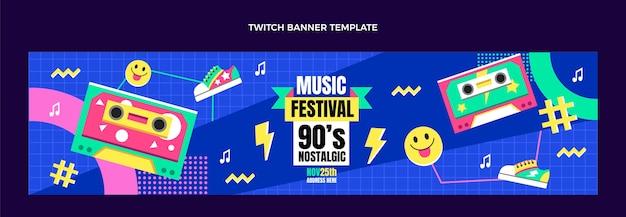 Bannière de contraction du festival de musique nostalgique des années 90 au design plat