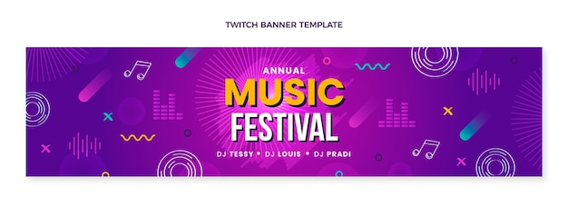 Bannière de contraction de festival de musique colorée dessinée à la main