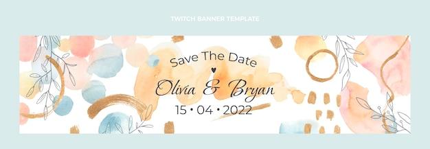 Bannière de contraction de mariage aquarelle dessinés à la main