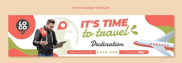 Bannière de contraction de voyage plat