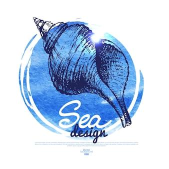 Bannière de coquillage. conception nautique de la mer. croquis dessinés à la main et illustration aquarelle
