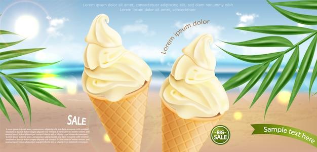 Bannière de cornet de crème glacée