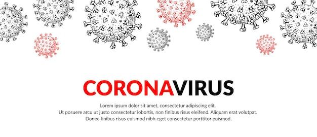 Bannière de coronavirus avec des éléments de conception dessinés à la main