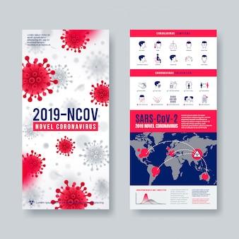 Bannière de coronavirus sertie d'éléments infographiques. nouvelle conception du coronavirus 2019-ncov.