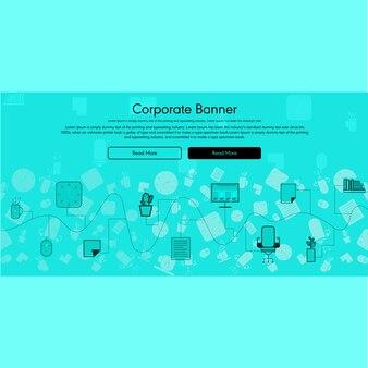 Bannière corporative vecteur plat avec fond info-graphique