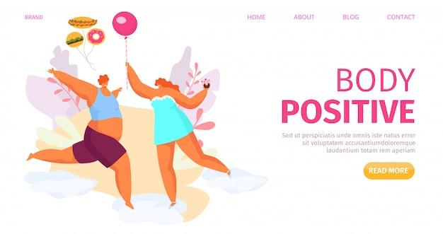 Bannière de corps positif gros homme femme, illustration. dessin animé couple en surpoids caractère heureux style de vie. des gens attirants