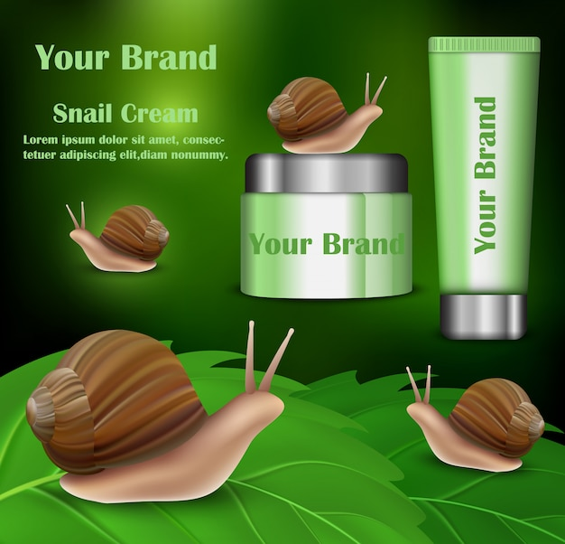 Bannière de cosmétiques crème d'escargot