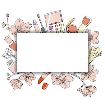 Bannière de cosmétiques dessinés à la main