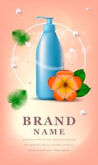 Bannière de cosmétiques avec fleur