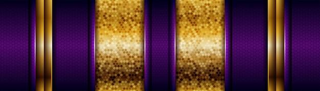 Bannière de couches de chevauchement doré et violet de luxe moderne