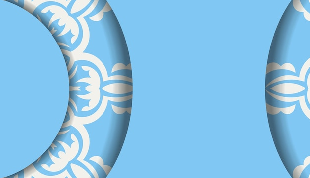 Bannière de couleur bleue avec motif blanc vintage pour la conception sous votre logo