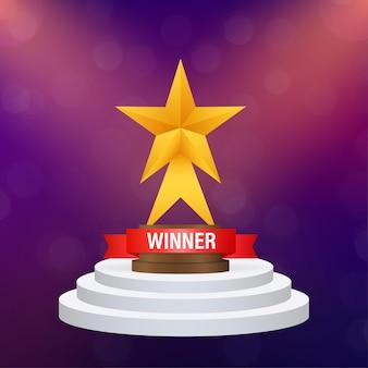 Bannière de la coupe du vainqueur. toutes nos félicitations. prix du triomphe. icône de la victoire. illustration vectorielle de stock.