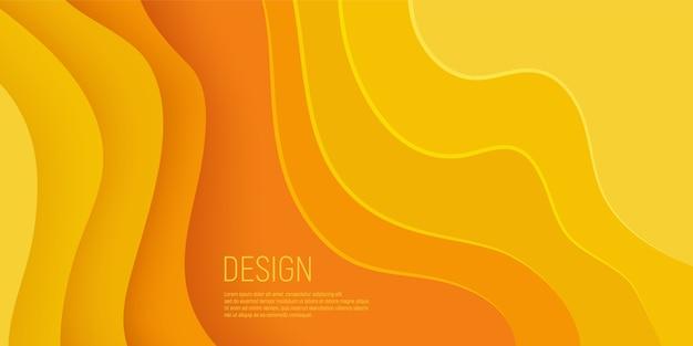 Bannière coupée de papier jaune avec des couches de vagues jaunes et abstrait 3d slime.