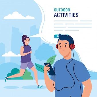 Bannière, couple effectuant la conception d'illustration d'activités de plein air de loisirs