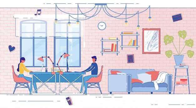 Bannière couple marié travaillant à la maison