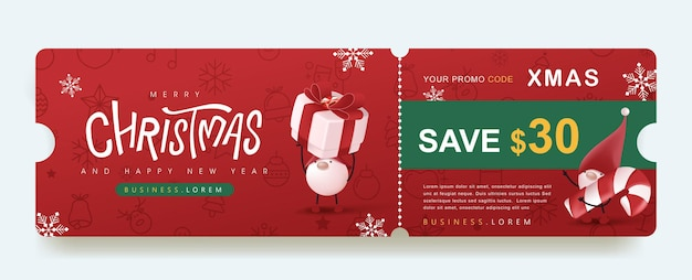 Bannière de coupon de promotion de joyeux noël avec un gnome mignon et une décoration festive pour noël