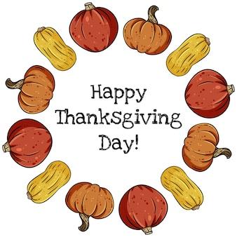 Bannière couronne décorative happy thanksgiving avec citrouilles colorées mignons.