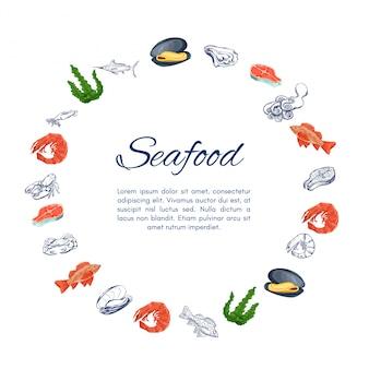 Bannière couronne de fruits de mer avec des icônes colorées