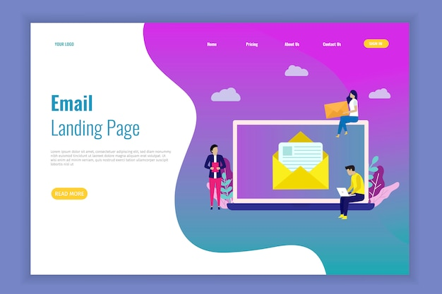Bannière de courrier électronique de la page de destination