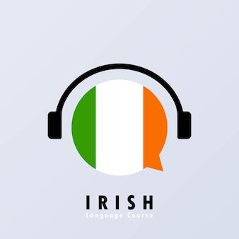 Bannière de cours de langue irlandaise. apprentissage en ligne. vecteur eps 10. isolé sur fond.