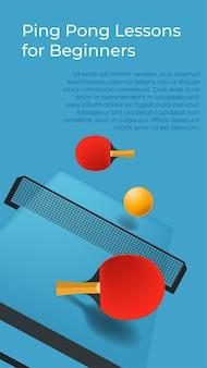 Bannière de cours de ping-pong pour débutants avec informations