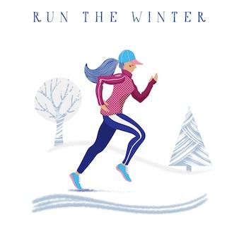 Bannière de course en hiver avec femme