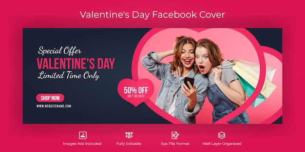 Bannière de couverture facebook de la saint-valentin