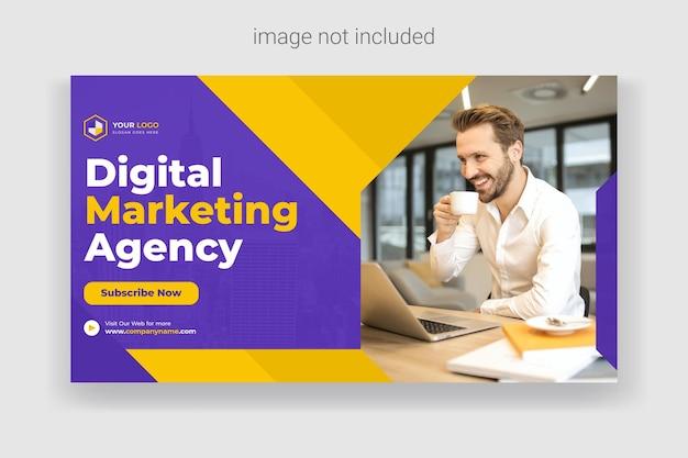 Bannière de couverture web d'entreprise et modèle de publication de médias sociaux miniature youtube vecteur premium