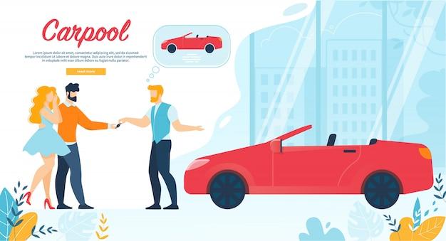 Une bannière de covoiturage, un homme donne une clé de voiture à un jeune couple