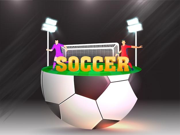 Bannière créative ou conception de l'affiche avec 3d texte doré soccer