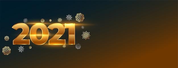 Bannière créative du nouvel an rougeoyant avec numéros 2021 et flocons de neige