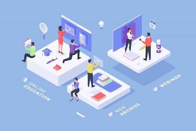 Bannière créative avec des services en ligne modernes pour l'éducation