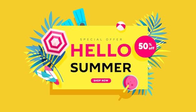 Bannière créative de vente d'été bonjour dans des couleurs vives à la mode avec des feuilles tropicales et du texte de remise.