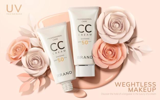 Bannière de crème cc de soins de la peau avec des fleurs en papier sur une surface liquide de teint dans un style 3d