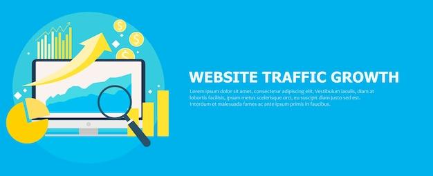 Bannière de croissance du trafic du site web. ordinateur avec des diagrammes, des courbes de croissance. loupe.