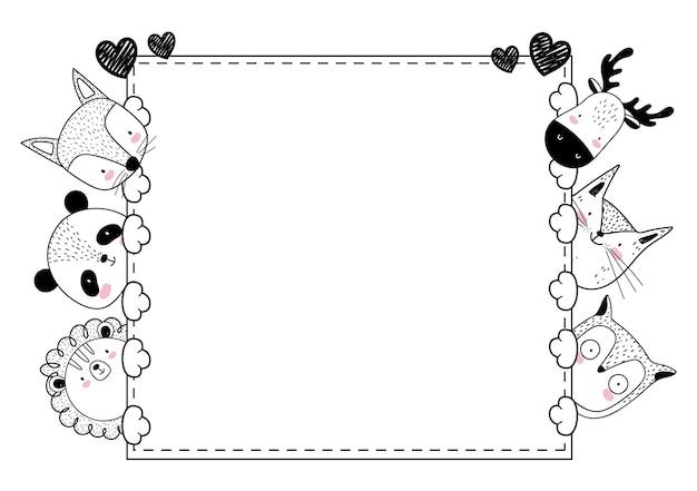 Bannière de croquis adorable animaux mignons