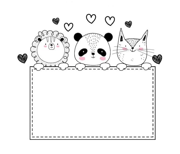 Bannière de croquis adorable animaux sauvages