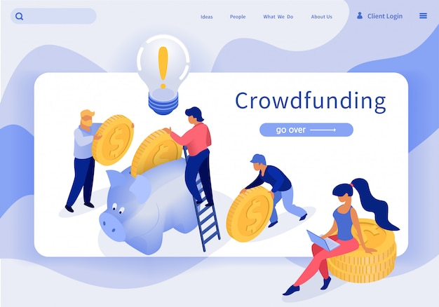 Bannière crowdfunding vector illustration lettrage.