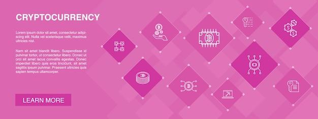 Bannière de crypto-monnaie 10 icônes conceptblockchain icônes simples de cryptographie minière